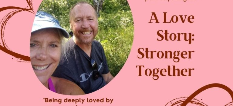 An image of Kelley and I in the woods to the left corner on a pink background. The title in Burgandy font. Abstract heart lines behind the image in the left corner and right corner. A quote by Lao Tzo in Burgandy font under the image.