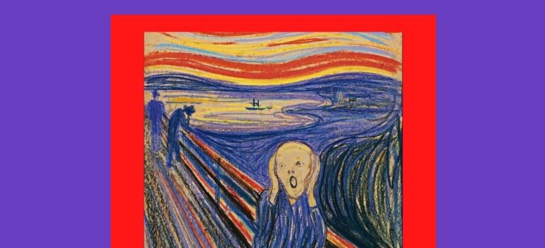 Purple background with title in red font, an image of THE SCREAM in the center: Tinnitus Awareness: Pulsatile Tinnitus
