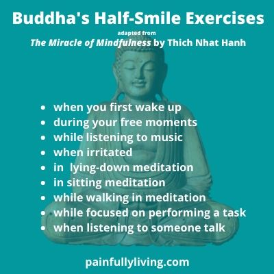 Teal green background with a sitting Buddha slightly smiling behind the list of the Half-Smile Exercises.