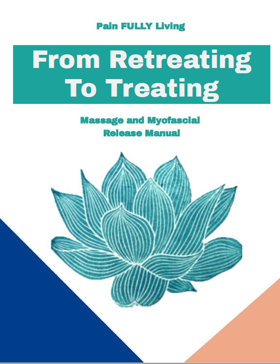 Cover of Myofascial Release eBook: Teal lotus in center on a white background off set with dark blue triangle on the left and peach triangle on the right.  Teal font for text.