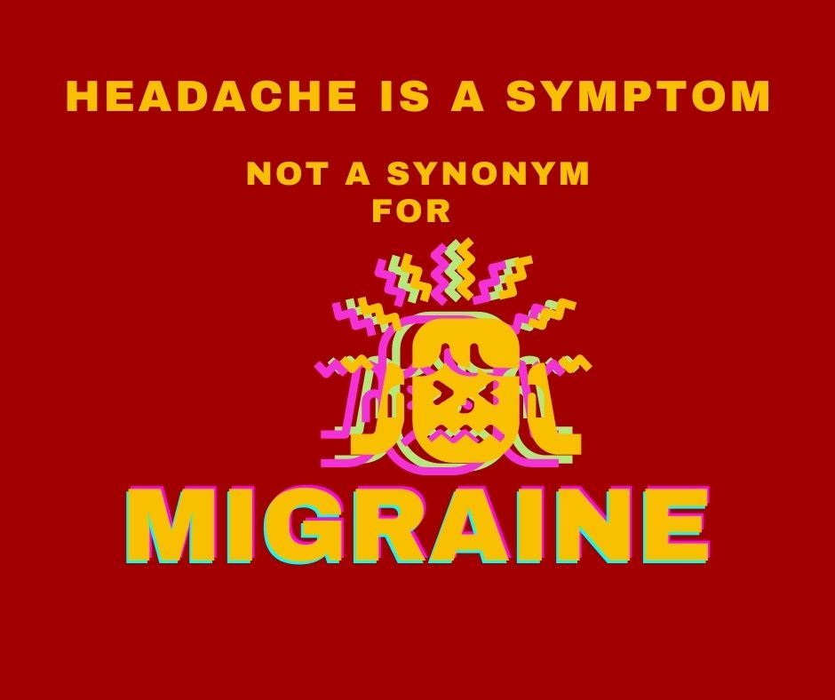 Burnt Red square with Bright orange-gold lettering stating the title : Headache is a Symptom Not a Synonym For MIGRAINE Distorted clipart face of a girl in pain with bolts of electricity coming off her head (3 images off set with fusia, lime green and orange to emphasize pain).