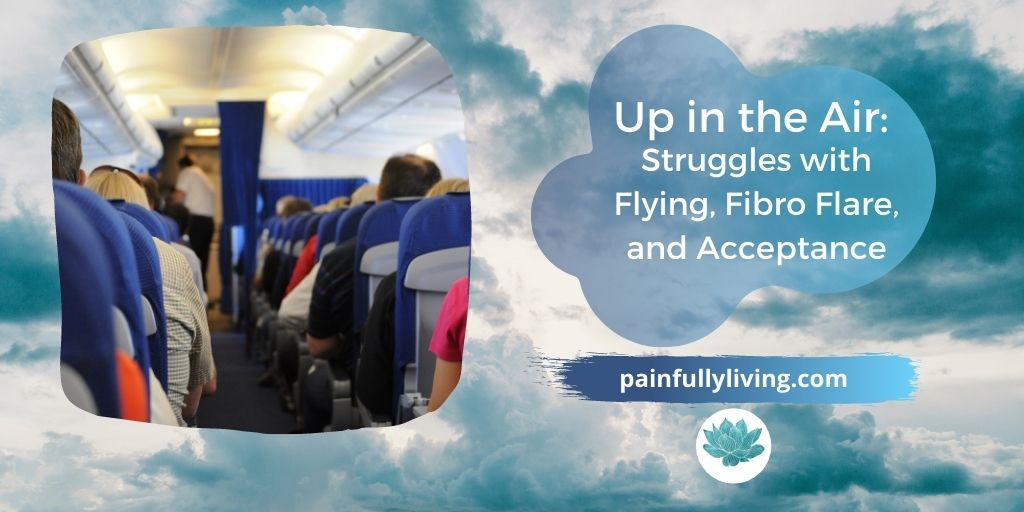 back ground of blue-whte fluffy clouds with airplane aisle with passengers seated, to the right in a transparent dark blue cloud shape  in white text is the title. Underneath in white font is the website and teal waterlily logo.