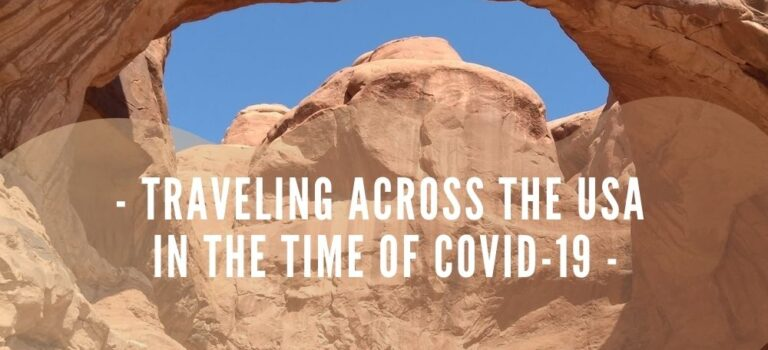 Bright blue sky behind a natural arches in Arches National Park with Title Text in White: Traveling Across the USA in the Time of COVID-19: Living FULLY Despite Pain