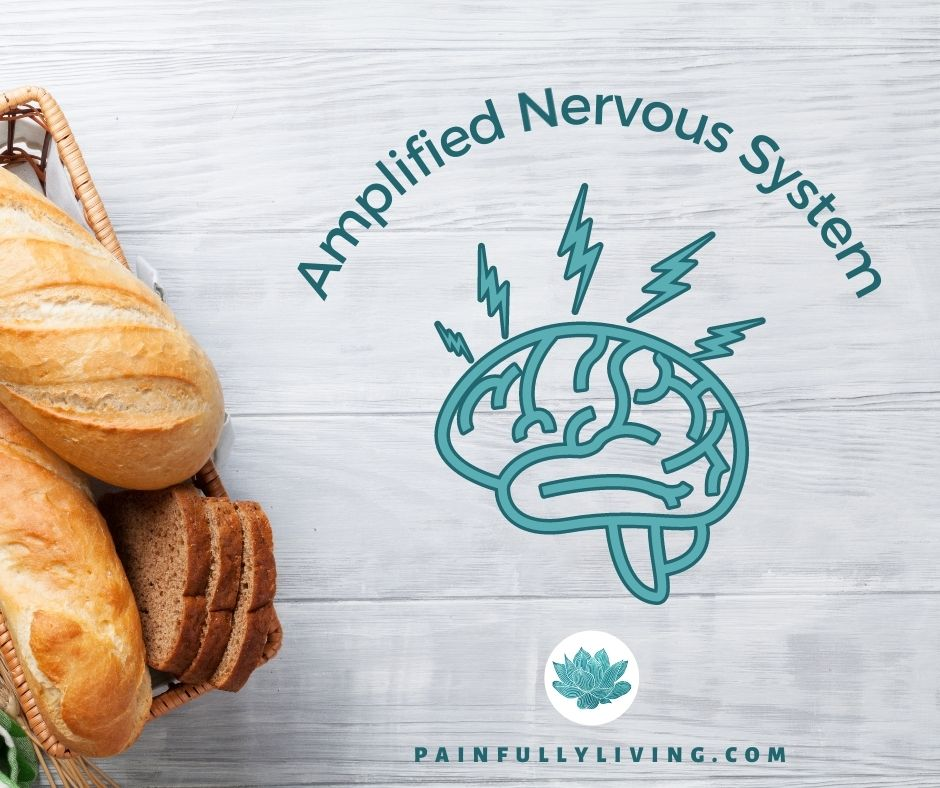 A white-washed wood plank background with whole loaves of bread in the lower left corner.  Off set to the right is a graphic of an outlined brain with electric bolts shooting from it.  Curving around the upper  side is text in dark teal that says Amplified Nervous System.