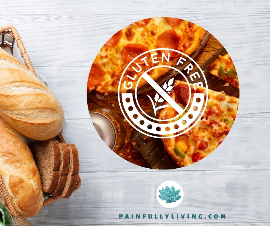 Whitewashed wooden planks background with bread in a basket to the lower left corner, to the left a circle with pepperoni pizza photo and the gluten free stamp in white.