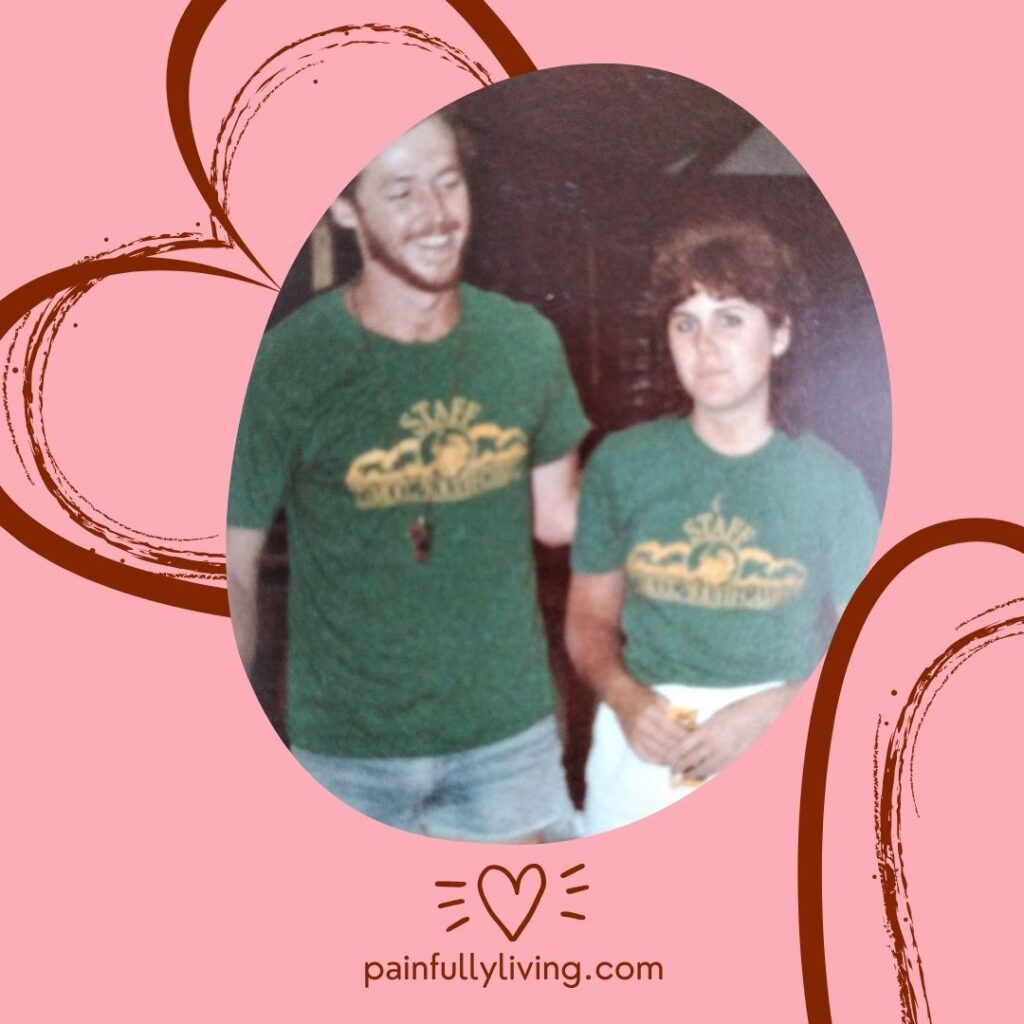 An image of young Kelley and me wearing our green Camp MUCC staff shirts on the pink background with abstract Burgandy heart lines.