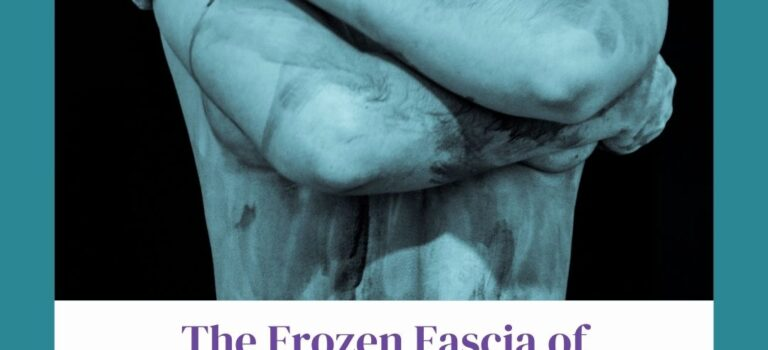 BW image of shoulder of a naked woman who has black paint strokes, looking like bruising. Purple font: The Frozen Fascia of Fibromyalgia and Myofascial Release
