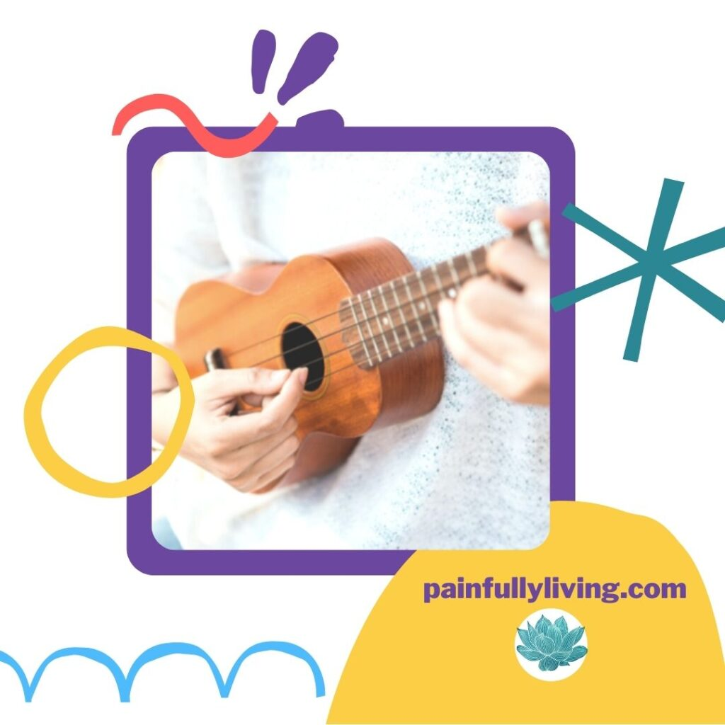 White background with childlike lines and shapes in purple, gold, teal, peach, and sky blue.  In the center, is an image of hands strumming a ukulele, tying to Growth Mindset and rewiring the brain.