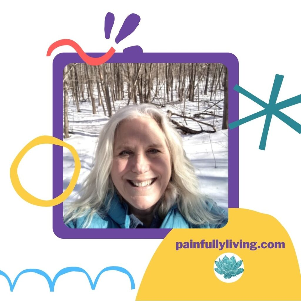 White background with childlike lines and shapes in peach, purple, teal, sky blue, and gold.  In purple square frame with rounded corners is a photo of Katie, smiling and squinting.  She's in the woods, snow covering the ground.