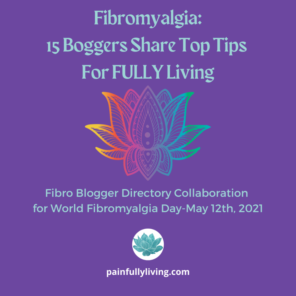 Light teal text: Fibromyalgia: 15 Bloggers Share Top Tips for FULLY Living Multicolored line drawing of a lotus