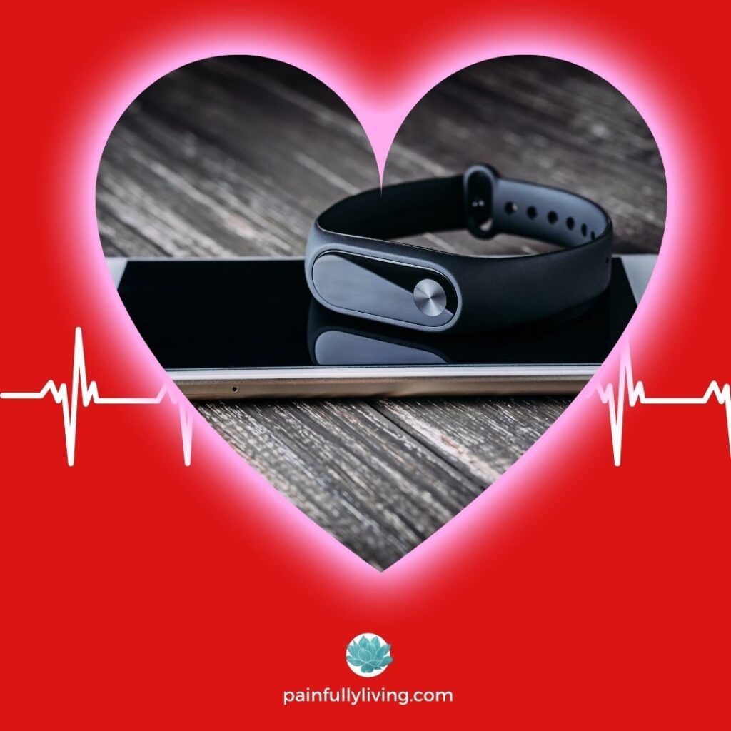Red background with heart frame featuring a biofeedback wrist band and smartphone.