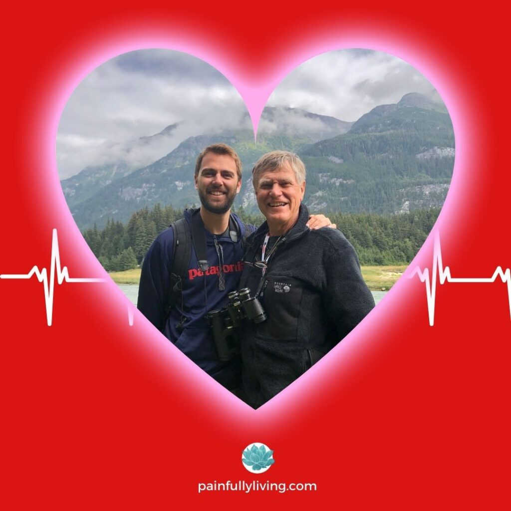 A red background with a heart frame centered, featuring Pete and his son standing in front of the Rocky Mountains.