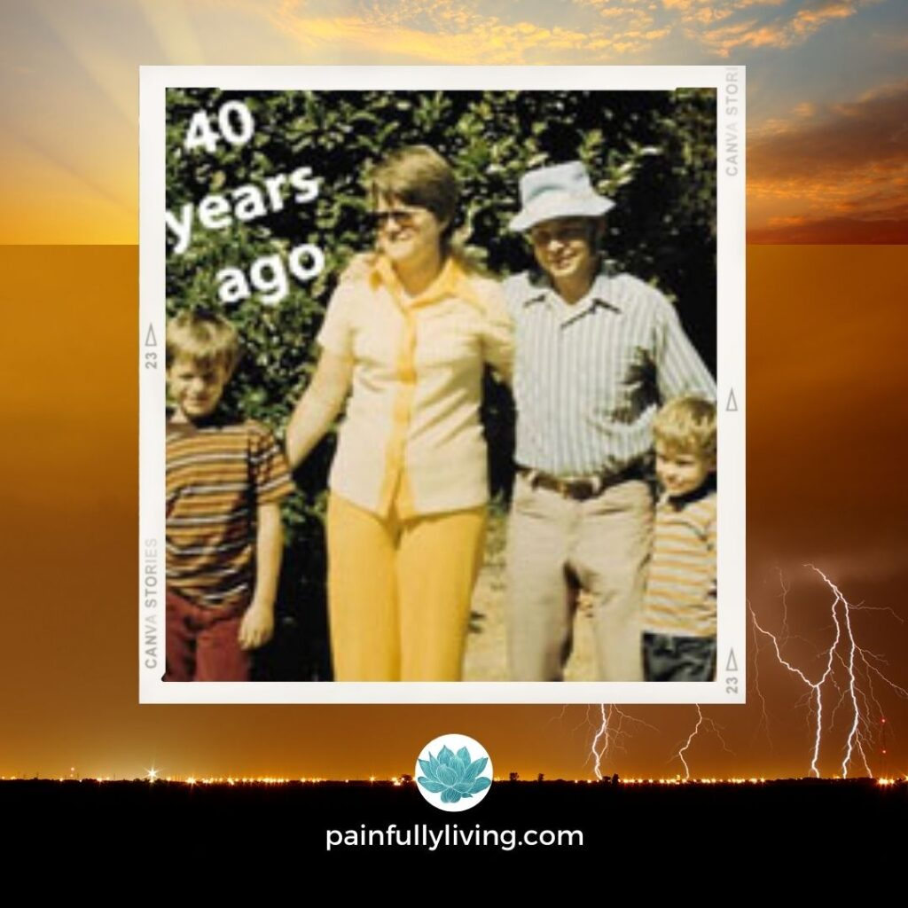 Orange, yellows, black, blue colors depict a background of lightening and sun peaking through the skies.  Centter: a photo from 40 years ago of Carole and FJ, arms around each other, flanked by their two sons.