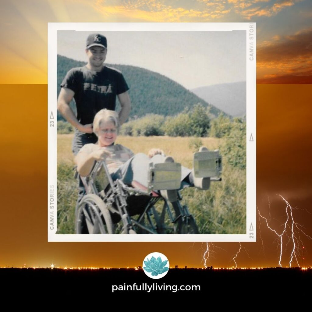 Orange, yellows, black, blue colors depict a background of lightening and sun peaking through the skies.  Center, image of Carol in a wheel chair being pushed by her son down a path through a field.
