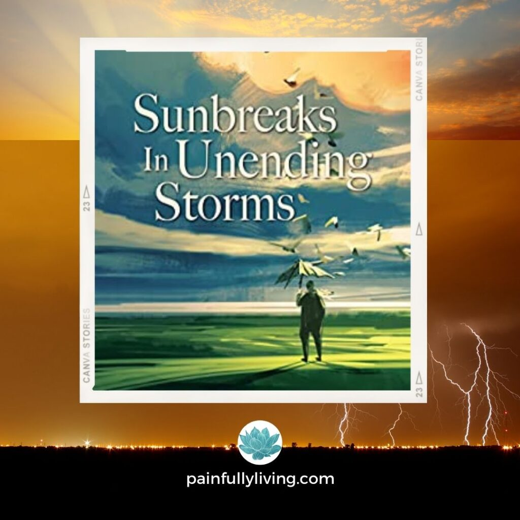 Orange, yellows, black, blue colors depict a background of lightening and sun peaking through the skies.  Center is image of the book's cover.